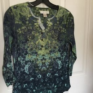 Christopher & Banks blue & Green print top